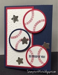Ok, I love the July Paper Pumpkin, Banner Surprise! I do also have to admit that I have not yet cra. Birthday Cards For Boys, Masculine Birthday Cards, Bday Cards, Happy Birthday Cards, Birthday Congratulations, Masculine Cards, 50th Birthday, Birthday Kids, Baseball Birthday