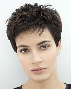 A Short Brown straight womens haircut very-short hairstyle by Franck Provost