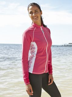Women s Zip Front Swim Top. Sun Protective ClothingSide ... 314c57e1ec33