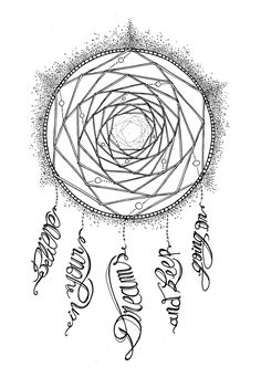 free coloring page - dream catcher and calligraphy