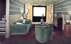 A 1948 home theater - yes, 1948 - Retro Renovation A home movie theater design, We forget how At Home Movie Theater, Home Theater Rooms, Home Theater Design, Teenage Girl Bedroom Decor, Bedroom Themes, 1940s Living Room, Living Rooms, Retro Renovation, Vintage Room