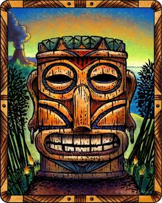 When the sun touches the horizon in the evening the Sunset Tiki's mouth magically animates into a wide grin with a wood-splintering crack. After one minute it then returns to its original solemn expression. This ancient phenomenon began occurring immediately after two lovers separated for years reunited atop its head at sunset.