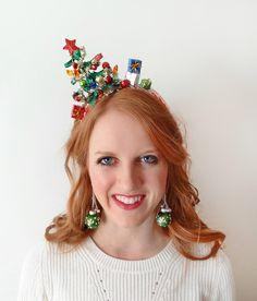 christmas tree headband christmas headband adult by TinseledTiara Tacky Christmas, Christmas Hair, Christmas Costumes, Christmas Crafts, Christmas Tree Headband, Christmas Headpiece, Ugly Xmas Sweater, Christmas Sweaters, Christmas Accessories