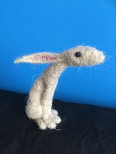 Needle felted moon gazing hare sculpture by EssenceofTranquility
