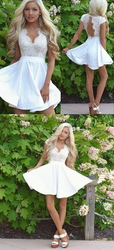 Cap Sleeves White Lace Homecoming Dress with Open Back