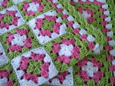 Baby Girl or Toddler Granny Square Afghan in by OakHillTraditions