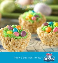 "Rice Krispies Treats™ ""nests,"" coconut ""grass,"" and jelly bean ""eggs."" Such a fun idea for the kids to make for Easter!"