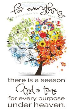 For everything there is a season, and a time for every purpose under heaven. Ecclesiastes 3:1