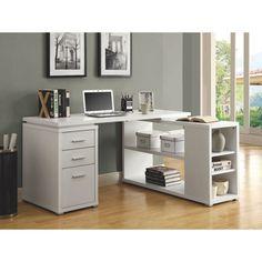 Bureau angulaire à 3 tiroirs - Blanc : Bureaux et stations de travail - Best Buy Canada