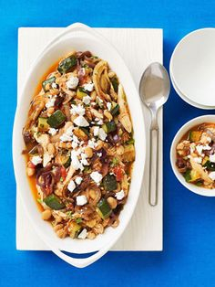 Mediterranean roasted vegetable and chicken chili. Sounds good!