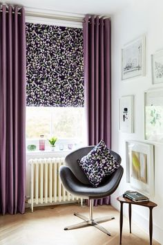 Dramatic purples and light pastels create the perfect mix. Use pattern and plain to add a different dimension into a room. Our indigo Garden Range of Romans and Curtains exclusively designed by @Charlotte Beevor would add the perfect balance of colour and cream to a room. www.hillarys.co.uk www.hillarys.co.uk: http://hillarys.co.uk/