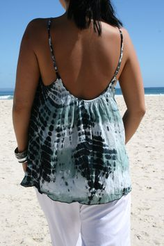 "www.ladywatego.com  Green 'Milla"" top is hand tie-dyed and hand beaded.. Surf Outfit, Clothing Labels, Tie Dyed, Beach Dresses, Shades Of Blue, Blue Green, Beachwear, Camisole Top, Surfing"