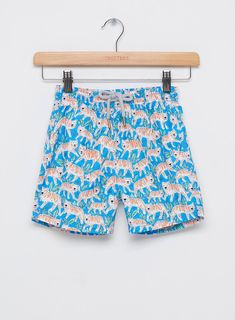 Cute Patchwork Elephants Yellow Background Boys Beach Quickly Drying Swim Trunk