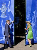 06 September 2013 King Willem-Alexander and Queen Maxima attended the presentation of the Dreambook (Droomboek)and the opening of the exhibition ''Dreaming at palace Het Loo, walk through the dreams for the King'' in Apeldoorn.