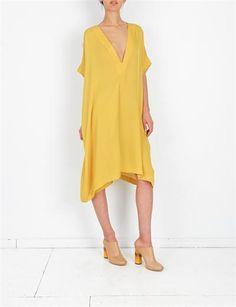 A Detacher Lulu Dress Silk Georgette - Citron