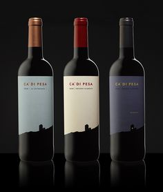 Beautiful die cut and foil printed labels for Ca' di Pesa wines by Konnect Design PD wine / vinho / vino mxm