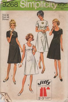 1970s Simplicity 9268 Jiffy Little Black Dress Pattern womens vintage sewing pattern by mbchills