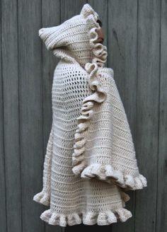 hooded cape, free crochet pattern