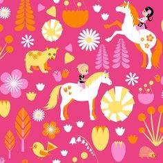 Kevatlaulu Pink wallpaper by Vallila