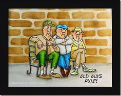 Old Guys Rule by Art Impressions Ai People.  Handmade masculine card with stenciled brick wall.
