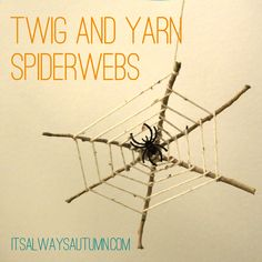 easy Halloween craft for kids! Collect twigs from your yard, glue them together, and wrap yarn for a spooky spiderweb. from itsalwaysautumn.com #kids #craft #Halloween