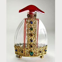 Czech Jeweled Perfume Bottle Red Stopper