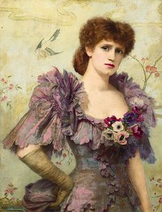 Portrait of The Jersey Lily.  Born on the Isle of Jersey, Lillie Langtry (1853-1929), Artist Muse, Courtesan  (Prince of Wales among others) and Actress by Herbert Gustave Schmaltz