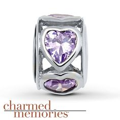 Charmed Memories Violet Heart Charm Sterling Silver