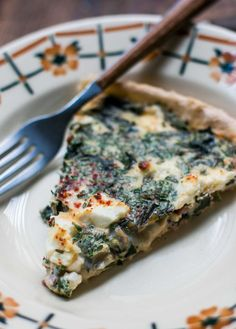 quiche with greens, bacon and feta