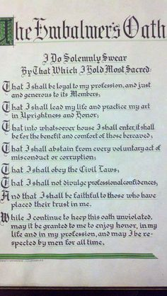 CONFESSIONS OF A FUNERAL DIRECTOR » The Embalmer's Oath