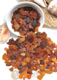 350 Grams Amber Caramel Coloured Sea Glass by BeachBountySeaGlass