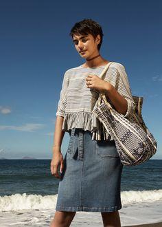 #esprit #spring17 #lookbook with @jilla.tequila #denimskirt #blouse #stripes #shopper