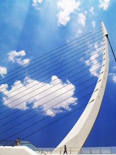 Harp by Konstantinos Brintakis on 500px Pedestrian bridge connecting the two sides of Mesogeion in Athens designed by the architect Santiago Calatrava.