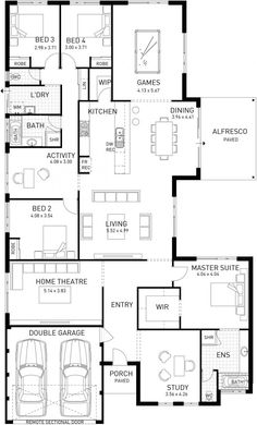 Cable Beach, Single Storey Display Floor Plan, WA Get rid of games room and make extra bedrooms/bathrooms bigger. Get rid of bath in ensuite and bigger shower New House Plans, Dream House Plans, House Floor Plans, My Dream Home, Home Design Floor Plans, Plan Design, Floor Plan Layout, Storey Homes, House Blueprints