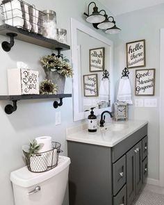 Inspiring lighting designs for bathrooms? Keep your small bathroom feeling open and bright instead of dark and cluttered with these modern bathroom recessed lighting ideas and tips. Farmhouse Bathroom Organizers, Bathroom Storage, Wall Storage, Farmhouse Decor Bathroom, Farm House Bathroom, Kitchen Decor, Bathroom Cleaning, Kitchen Paint, Wall Shelves
