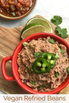 No Lard Vegan Refried Beans Recipe made with coconut oil Refried Beans Recipe Easy, Vegan Refried Beans, Homemade Refried Beans, Bean Recipes, Vegetarian Recipes, Healthy Recipes, Vegan Vegetarian, Vegan Food, Delicious Recipes