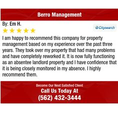 I am happy to recommend this company for property management based on my experience over...