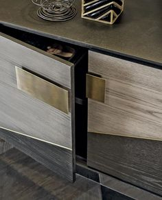 Shakedesign_Storages_Ego sideboard with multicolored doors, structure and interiors in T150 noir, doors in T152 sabbia, T150 noir, T151 terra, light bronze metal legs, inserts and handles in burnished brass Tv Unit Furniture, Sideboard Furniture, Design Furniture, Modern Furniture, Dining Cabinet, Hall Console Table, Sideboard Cabinet, Interior Design Living Room Warm, Dining Room Design