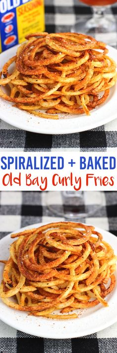 Baked Old Bay Curly Fries use a spiralizer for a quick side dish or snack recipe. The fries are baked but crispy.