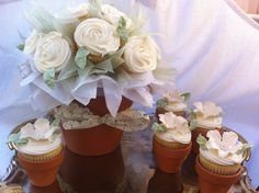 Mother's Day cupcake bouquet with individual cupcake flower pots by Donna Belle Desserts