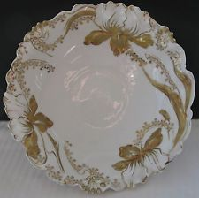 Lovely RS Germany Porcelain Serving Bowl W Embossed Gold Flowers & Ruffled Edge