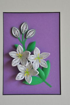 3D white flowers paper quilling shadow box