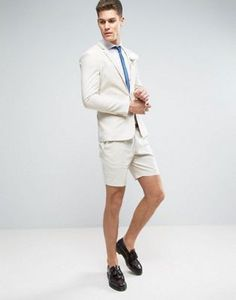 ASOS WEDDING Super Skinny Suit In Stone Stretch Linen Cotton