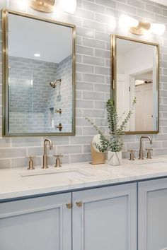 modern farmhouse bathroom design, neutral bathroom design with white walls and subway tile walk in shower, white tile shower with glass door and metal mirror with metal sconce, marble quartz counter and blue bathroom vanity and black hex tile floor Blue Bathroom Vanity, Bathroom Kids, Bathroom Renos, Bathroom Renovations, Remodel Bathroom, Bathroom Cabinets, Bathroom Mirrors, Marble Bathrooms, Small Bathrooms