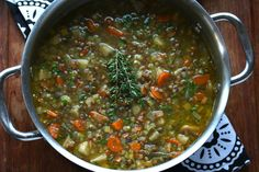 This French Lentil Soup is absolutely packed with flavor! Deliciously rich and satisfying, it& sure to become a favorite. Puy Lentil Recipes, Best Lentil Soup Recipe, Veggie Recipes, Vegetarian Recipes, Cooking Recipes, Healthy Recipes, Top Recipes, Healthy Cooking, Gourmet
