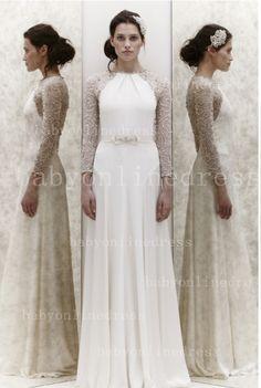 $139   Long-sleeve Prom Dresses 2013 Beading Bateau Waistband bowknot Simple in Design Zuhair Murad White Gowns for Sale BO1450_Prom Dresses 2013 - Babyonlinedress.com