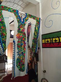 Hand embroidered Mexican wedding dress at Pachamama in Sayulita, Mexico.