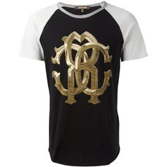 Roberto Cavalli two-tone metallic monogram logo T-shirt ($251) ❤ liked on Polyvore featuring men's fashion, men's clothing, men's shirts, men's t-shirts, black, mens cotton shirts, mens monogram shirts, two tone mens dress shirts, roberto cavalli mens shirts and mens cotton t shirts
