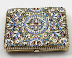 Fine quality Russian silver and enamel cigarette case
