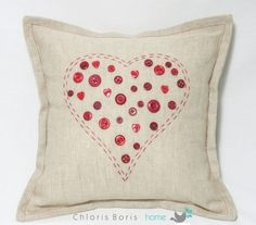heart cushion heart cushion pillow shabby chic by ChlorisBoris, £18.00
